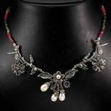 Ожерелье с натуральными цветными турмалинами и белым жемчугом, фото №2