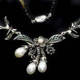 Ожерелье с натуральными цветными турмалинами и белым жемчугом, фото №3