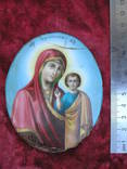 Икона Казанскiя пр.бог. финифть, фото №4