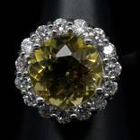 Кольцо 925 натуральный лимонный кварц, цирконий.