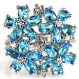 Кольцо 925 натуральный голубой топаз, цирконий.