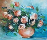 """Картина """"Натюрморт с розами""""  40х35.Ермолович Елена photo 1"""