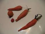 Елочные игрушки из ваты  Марковки и фрукты, фото №2