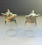 Оригинальные новые стопки-2 шт. Охота-бронза, стекло