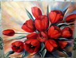 """Картина """"Красные тюльпаны"""" 50х40 Холст масло."""