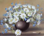 Картина Ромашки и колокольчики, 25х30 см. живопись на холсте, оригинал, с подписью автора photo 1