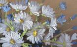 Картина Ромашки и колокольчики, 25х30 см. живопись на холсте, оригинал, с подписью автора photo 3
