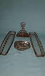 Набор розовое стекло для туалетного столика - 60-70г.г., ХХв. Винтаж