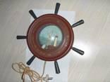 Светильник в виде штурвала с маяком и видом яхты на море, СССР, рабочий