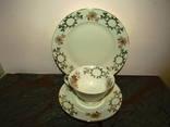 Антикварное Чайное трио чашка блюдце тарелка клеймо Johann Seltmann Bavaria Германия