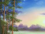 Картина Вечер у реки, 25х30 см. живопись на холсте, оригинал, с подписью photo 2