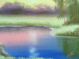Картина Вечер у реки, 25х30 см. живопись на холсте, оригинал, с подписью photo 3