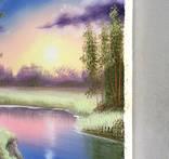 Картина Вечер у реки, 25х30 см. живопись на холсте, оригинал, с подписью photo 4