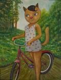 Холст,Масло. '' Велосипедная прогулка . '' 35 * 45 см. photo 1