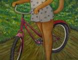 Холст,Масло. '' Велосипедная прогулка . '' 35 * 45 см. photo 4