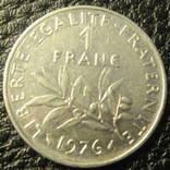 1 франк Франція 1976, фото №2