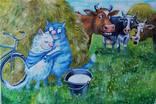 Синие коты. Копия минской художницы Ирины Зенюк. Масло, холст 40*60