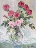 """Авторская Картина """" Розы в Вазе """". Холст, Масло в родной Раме., фото №2"""