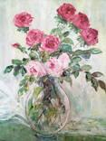 """Авторская Картина """" Розы в Вазе """". Холст, Масло в родной Раме., фото №3"""