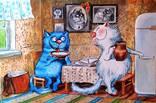 «Синие коты» Копия Минской художницы Ирины Зенюк. Размер 40 / 60 см. photo 1