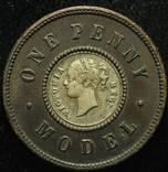 Великобритания пробные 1 пенни 1860 биметалл