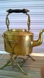 """Аникварный чайник на подставке, латунь, клеймо """"T&Co"""", 1,5 литра"""