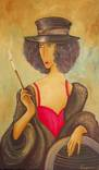 Холст,Масло. '' Дама курит. 2 .'' 30 * 50 см. photo 1