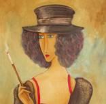 Холст,Масло. '' Дама курит. 2 .'' 30 * 50 см. photo 3