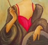 Холст,Масло. '' Дама курит. 2 .'' 30 * 50 см. photo 4