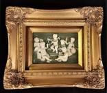 Рельефная картина под стеклом . Ангелы . Красивая рама. Рельеф. Европа