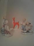 Фарфоровые статуэтки ,Олененок ,Дети с Голубями ,Фигуристка,одним лотом