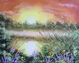 Картина Теплый летний вечер, 50х40 см. живопись на холсте, оригинал, с подписью