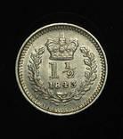 Великобритания 1 1-2 пенса 1843 аUnc серебро photo 1
