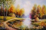 """""""Красочная Осень"""". 30х20 см. Виктор Хомяк 2017г. Мастихин."""