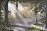 Картина Утром в летнем лесу, 25х30 см. живопись на холсте, оригинал, с подписью