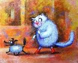 «Синие коты» Копия Минской художницы Ирины Зенюк. Размер 40 / 50 см.