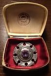 Брошь Серебро Аметист Д-10мм 875 проба коробка
