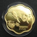 200 юаней 2007 года. Год свиньи. Тираж 8000 шт. 1/2 унции. Золото.