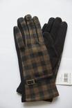 Женские утепленные перчатки, клетка. photo 1