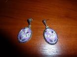 Серьги с эмалью и марказитами, фото №2