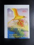 фауна. птицы. австралия . о-ов рождества .  марка-наклейка  MNH, фото №2