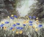 Картина Цветы на поляне, 25х30 см. живопись на холсте, оригинал, с подписью photo 1