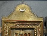 Серебряная икона с четырьмя святыми + киот. 84 проба. 40х58 см. photo 3