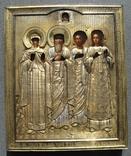 Серебряная икона с четырьмя святыми + киот. 84 проба. 40х58 см. photo 5