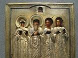 Серебряная икона с четырьмя святыми + киот. 84 проба. 40х58 см. photo 6