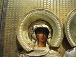 Серебряная икона с четырьмя святыми + киот. 84 проба. 40х58 см. photo 8