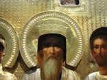 Серебряная икона с четырьмя святыми + киот. 84 проба. 40х58 см. photo 9