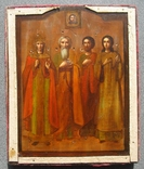 Серебряная икона с четырьмя святыми + киот. 84 проба. 40х58 см. photo 10