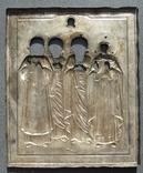 Серебряная икона с четырьмя святыми + киот. 84 проба. 40х58 см. photo 11