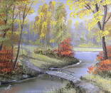 Картина Нарядная осень, 25х30 см. живопись на холсте, оригинал, с подписью